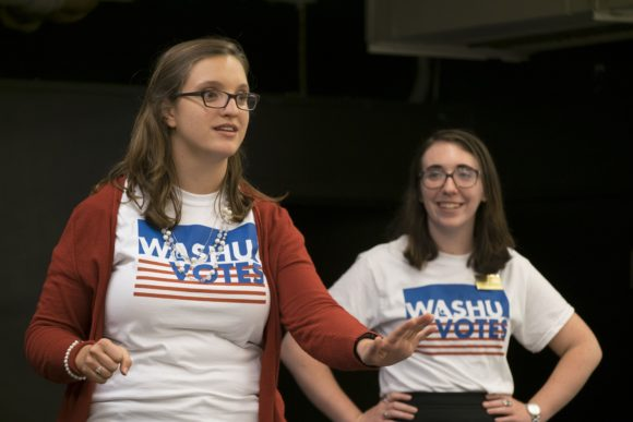 Undergraduate and graduate students from Washington University in St. Louis gathered Tuesday, Aug. 30, 2016 for the kickoff event for WashU Votes, an effort to encourage student involvement in the 2016 election and the 2016 Presidential Debate being hosted on the WU Campus Oct. 9, 2016. The WashU Votes program is part of the Gephardt Institute for Civic and Community Engagement. Haley Dolosic, president of the Graduate Professional Council and Cassandra Klosterman, Voter Engagement Fellow at the Gephardt Institute deliver remarks.  Photo by Sid Hastings / WUSTL Photos