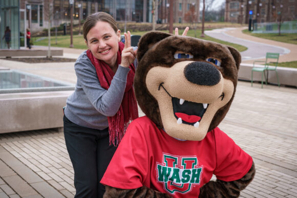 Emily Almas with WashU Bear Mascot