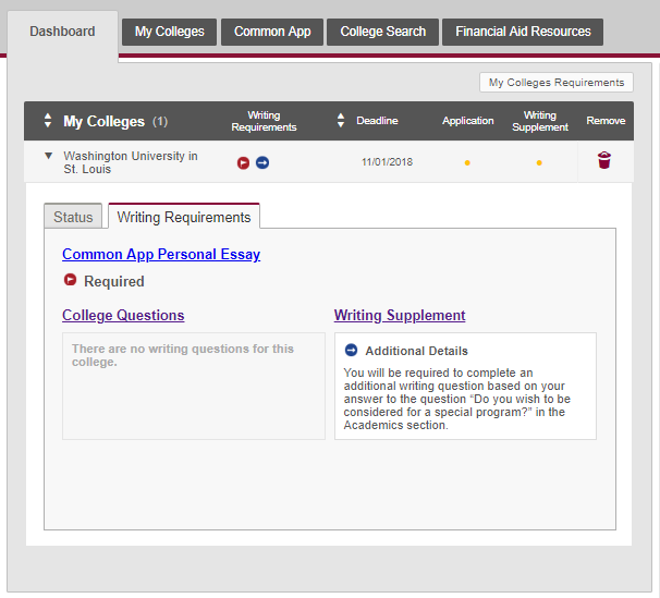 Common Application Dashboard